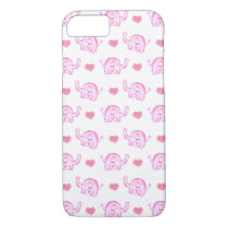 watercolor pink elephants and hearts iPhone 7 case