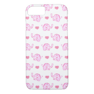 watercolor pink elephants and hearts iPhone 8/7 case