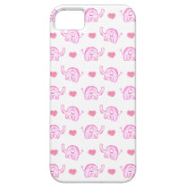 watercolor pink elephants and hearts iPhone SE/5/5s case