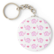 watercolor pink elephants and hearts keychain