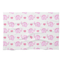 watercolor pink elephants and hearts kitchen towel