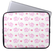 watercolor pink elephants and hearts laptop sleeve