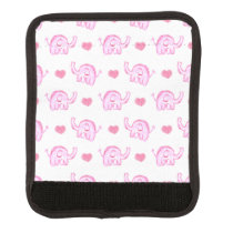 watercolor pink elephants and hearts luggage handle wrap