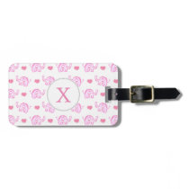 watercolor pink elephants and hearts luggage tag