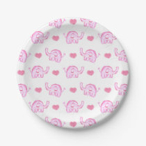 watercolor pink elephants and hearts paper plate