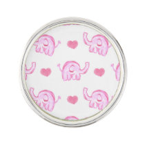 watercolor pink elephants and hearts pin