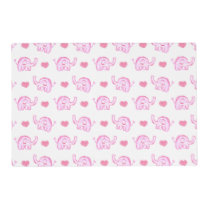 watercolor pink elephants and hearts placemat