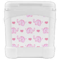 watercolor pink elephants and hearts rolling cooler