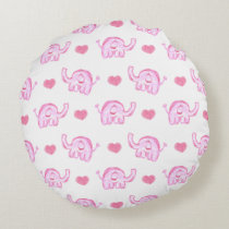 watercolor pink elephants and hearts round pillow