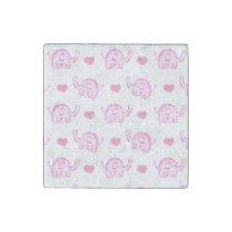 watercolor pink elephants and hearts stone magnet