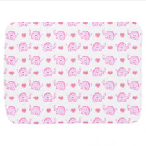 watercolor pink elephants and hearts swaddle blanket
