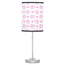 watercolor pink elephants and hearts table lamp