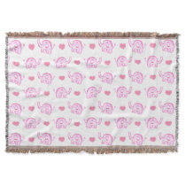 watercolor pink elephants and hearts throw blanket