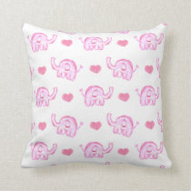 watercolor pink elephants and hearts throw pillow