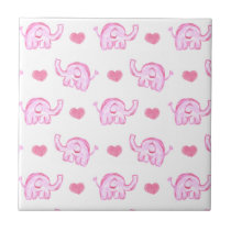 watercolor pink elephants and hearts tile