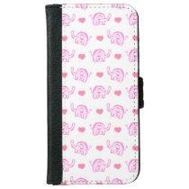 watercolor pink elephants and hearts wallet phone case for iPhone 6/6s