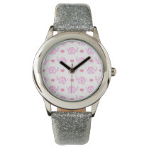 watercolor pink elephants and hearts wristwatch