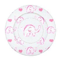 watercolor pink elephants hearts button cover