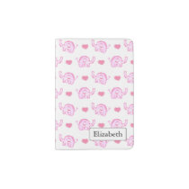 watercolor pink elephants hearts passport holder
