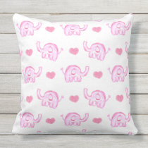 watercolor pink elephants outdoor pillow