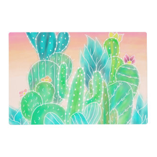 Watercolor pink exotic summer cactus illustration placemat