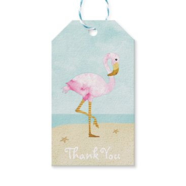 Beach Themed Watercolor Pink Flamingo on the Beach Gift Tags
