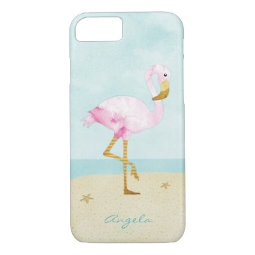 Beach Themed Watercolor Pink Flamingo on the Beach iPhone 7 Case
