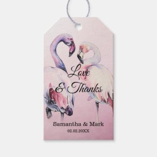 Watercolor Pink Flamingo Wedding Gift Tag