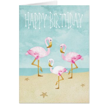 Beach Themed Watercolor Pink Flamingos on the Beach Card