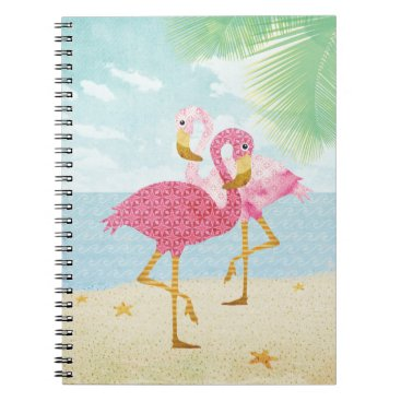 Beach Themed Watercolor Pink Flamingos on the Beach Notebook