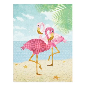 Beach Themed Watercolor Pink Flamingos on the Beach Postcard