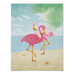 Watercolor Pink Flamingos on the Beach Poster