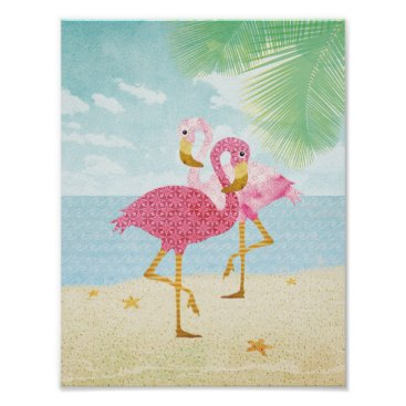 Beach Themed Watercolor Pink Flamingos on the Beach Poster