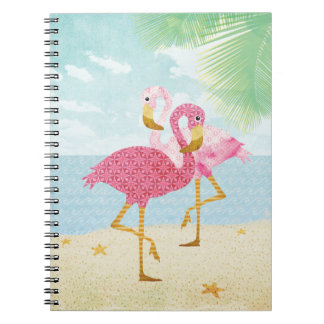 Watercolor Pink Flamingos on the Beach Spiral Notebook