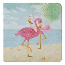 Watercolor Pink Flamingos on the Beach Trivet