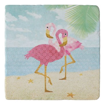 Beach Themed Watercolor Pink Flamingos on the Beach Trivet