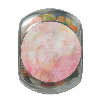 Watercolor Pink Floral Background Glass Jar