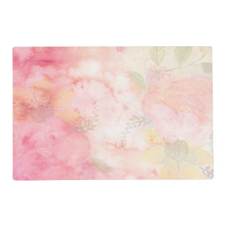 Watercolor Pink Floral Background Placemat