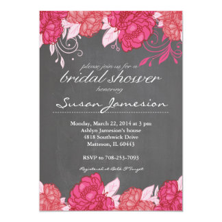 Watercolor pink Floral Bridal Shower Invitation