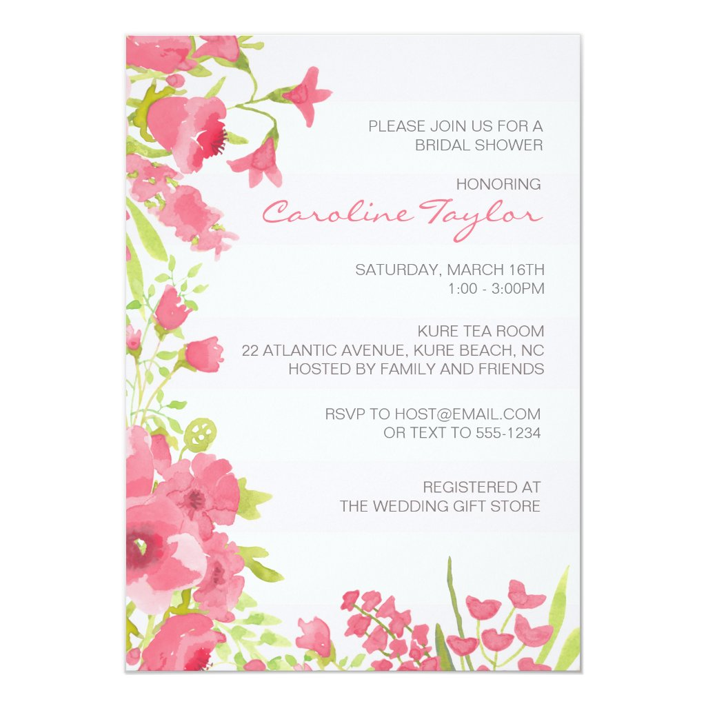 Watercolor Pink Floral Bridal Shower Invitation