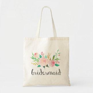 watercolor pink floral bridesmaid tote bag