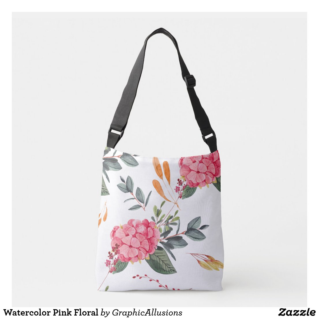 Watercolor Pink Floral Crossbody Bag