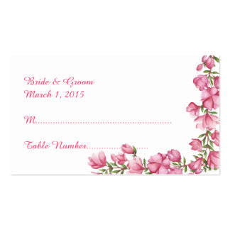 Watercolor Pink Floral Frame Wedding Place Card Double-Sided Standard Business Cards (Pack Of 100)