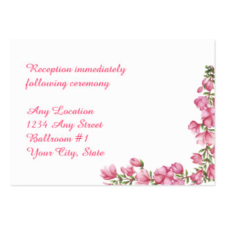Watercolor Pink Floral Frame Wedding Reception Large Business Cards (Pack Of 100)