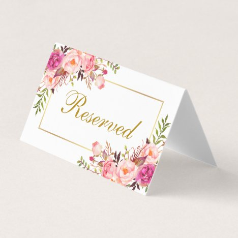 Watercolor Pink Floral Gold Wedding Reserved Place Card