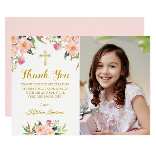 Watercolor Pink Floral Holy Communion Thank You Invitation