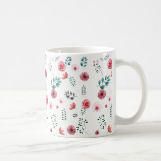 Watercolor Pink Floral Petal Chiffon Blossom Rose Coffee Mug