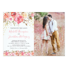 Watercolor Pink Floral Photo Wedding Invitation