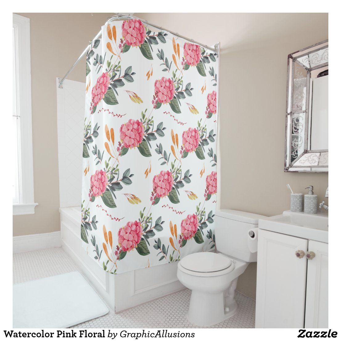 Watercolor Pink Floral Shower Curtain