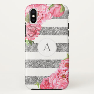 Watercolor Pink floral Silver stripes monogram iPhone X Case